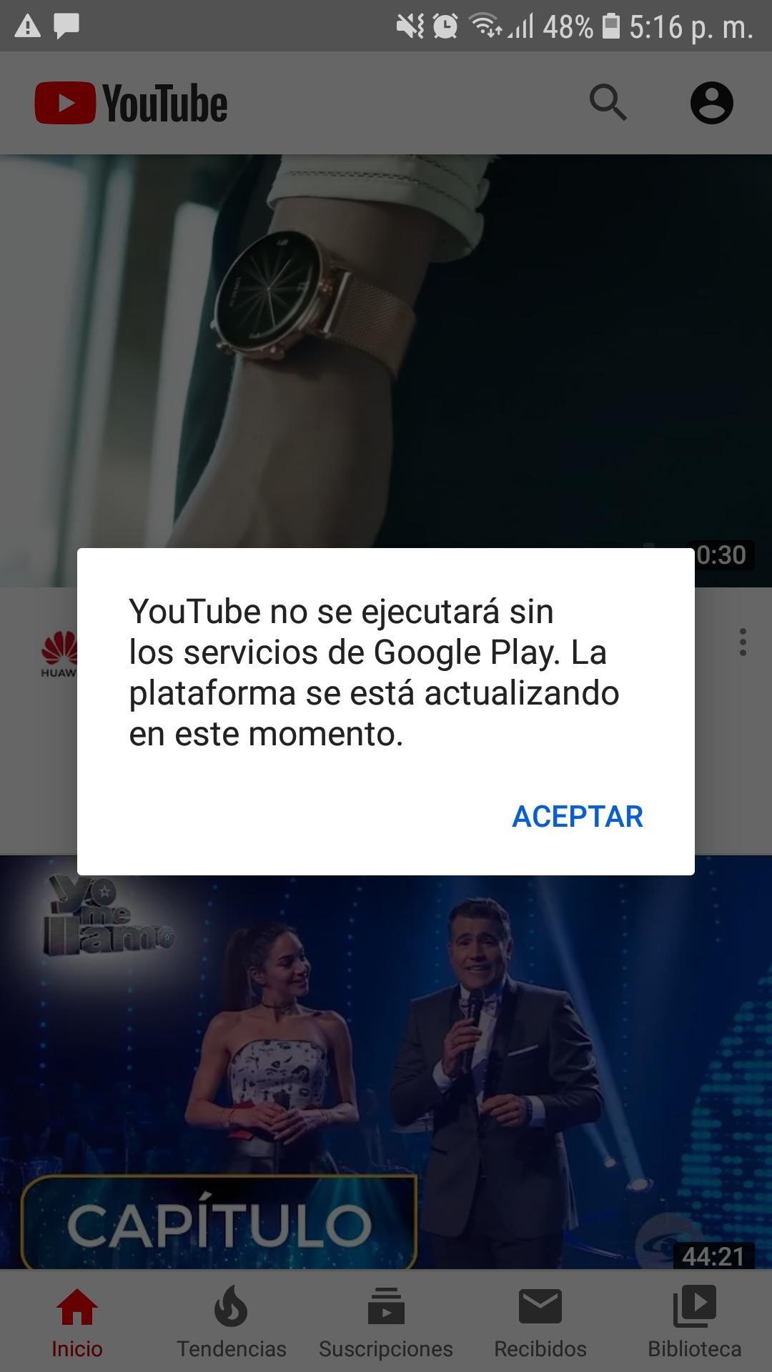 Youtube no se ejecutará sin los servicios de Google Play